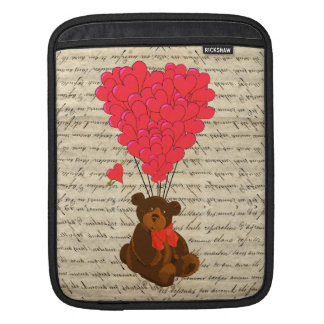 Teddy bear and heart iPad sleeve