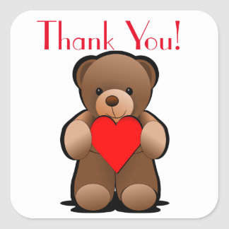 Teddy Bear and Heart Thank You Label Square Sticker