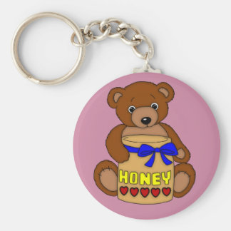 Teddy Bear and Honey Jar Key Ring