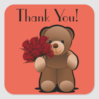 Teddy Bear and Roses Thank You Label Square Sticker