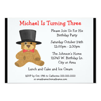 Teddy Bear and Top Hat Boy Birthday Custom Year 13 Cm X 18 Cm Invitation Card