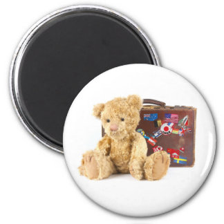teddy bear and vintage old suitcase with world sti 6 cm round magnet