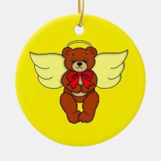 Teddy Bear Angel Front and Backside Art Graphic Round Ceramic Decoration