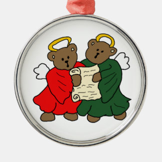 Teddy Bear Angels Silver-Colored Round Decoration