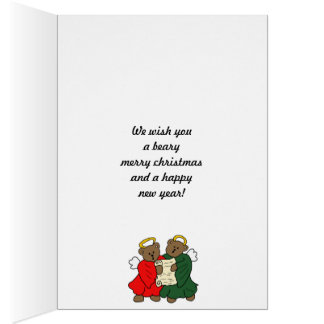 Teddy Bear Angels in Red and Green Choir Robes Greeting Card