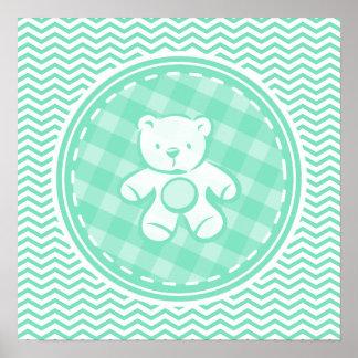 Teddy Bear Aqua Green Chevron Poster