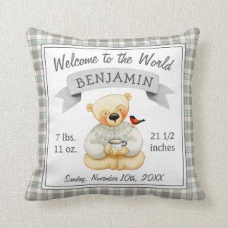 Teddy Bear Baby Boy Birth Stats Cushion