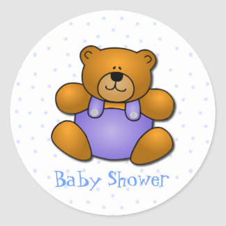 Teddy Bear Baby Boy Shower Stickers
