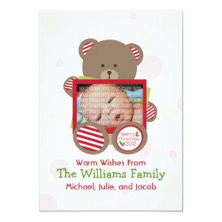 Teddy Bear Baby Photo Christmas Card 13 Cm X 18 Cm Invitation Card