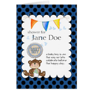 Teddy Bear Baby Show Invitation Note Card