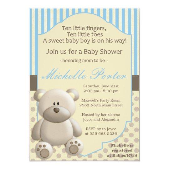 Teddy bear Baby Shower Invitation for a boy