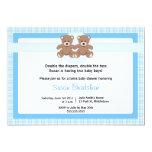 Teddy Bear Baby Shower Invitation - Twin Boys