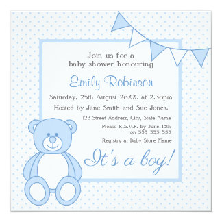 teddy bears boy baby shower invitations & announcements | zazzle.co.uk, Einladung