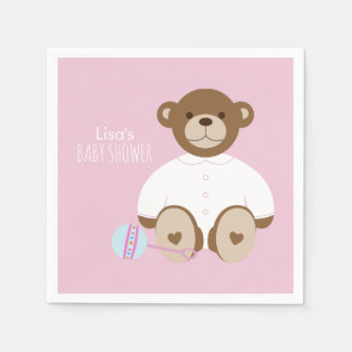 Teddy Bear Baby Shower Paper Napkin - on pink
