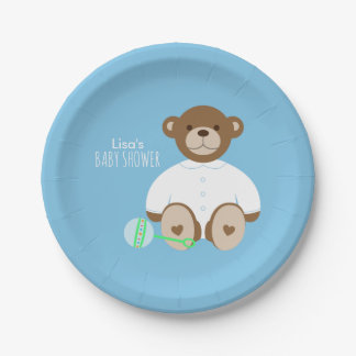 Teddy Bear Baby Shower Paper Plate - on blue