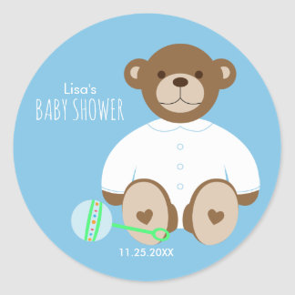 Teddy Bear Baby Shower Sticker, blue background Classic Round Sticker