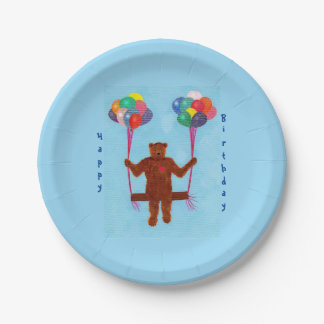 Teddy Bear Balloon Swing Birthday Plates