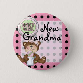 Teddy Bear Black Dot on Pink 6 Cm Round Badge