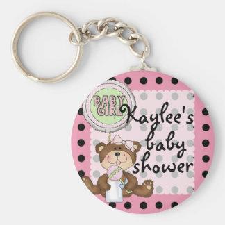 Teddy Bear Black Dot on Pink Key Chain