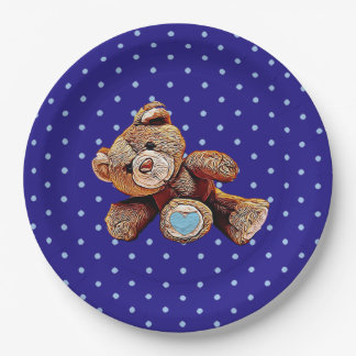 Teddy Bear Blue and Tan Polka Dotted Party Plate
