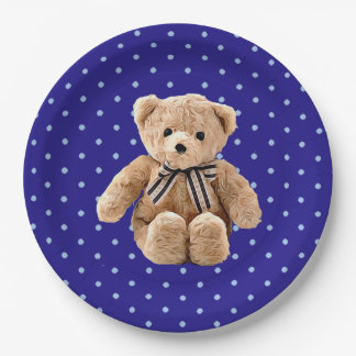 Teddy Bear Blue and Tan Polka Dotted Party Plate 9 Inch Paper Plate