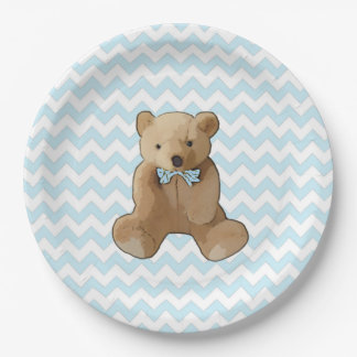 Teddy Bear Blue and White Striped Party Plate