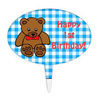 Teddy Bear Blue Check Happy Birthday Custom Year Cake Pick