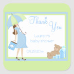 Teddy Bear Blue Shopper Baby Shower Stickers