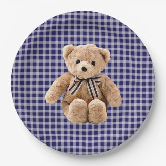 Teddy Bear Blue Striped Party Plate