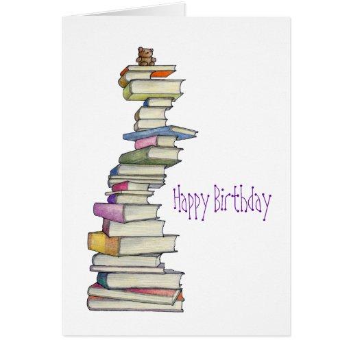 Teddy Bear Books Birthday Card
