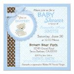 Teddy Bear Boy Baby Shower Blue 13 Cm X 13 Cm Square Invitation Card
