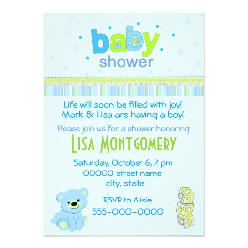 teddy bear boy baby shower invitation 5 x 7 invitation card zazzle