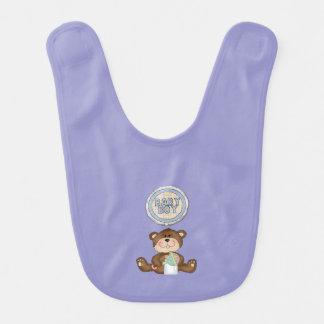 Teddy Bear Boy Lavender Bibs