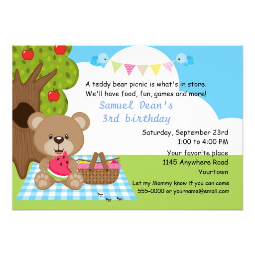 Teddy Bear Boys Picnic Birthday Announcement