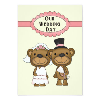 Teddy Bear Bride And Groom Wedding Card