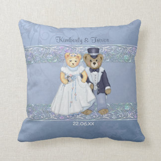 Teddy Bear Bride and Groom Wedding - Customize Throw Pillow