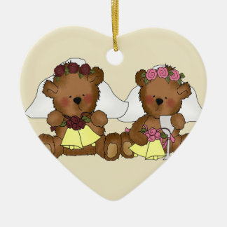 Teddy Bear Brides Wedding Christmas Ornament