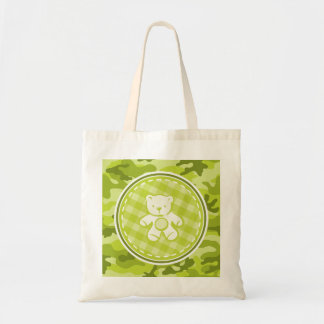 Teddy Bear bright green camo camouflage Tote Bags