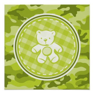 Teddy Bear; bright green camo, camouflage Posters