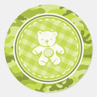 Teddy Bear bright green camo camouflage Sticker