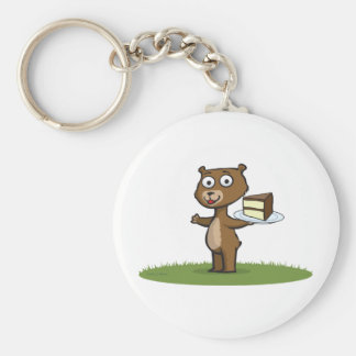 Teddy Bear Cake Basic Round Button Key Ring