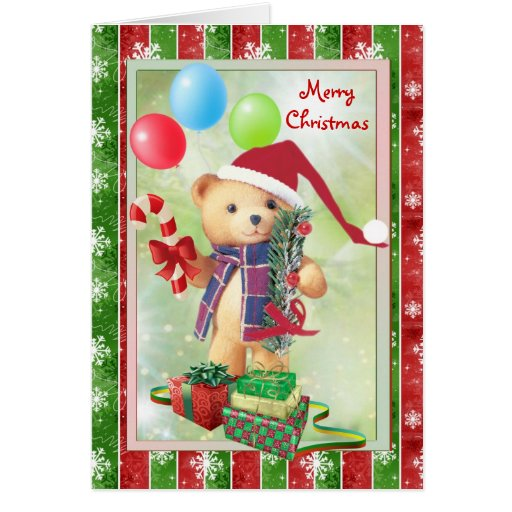 Teddy bear, candy cane and christmas presents Card