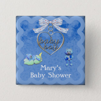 Teddy Bear Charm Boy Blue Baby Shower 15 Cm Square Badge