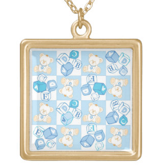 Teddy bear checked pattern gold plated necklace