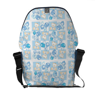 Teddy bear checked pattern messenger bags