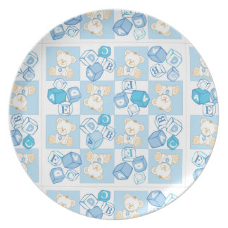Teddy bear checked pattern party plate