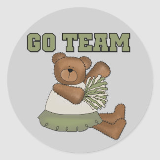 Teddy Bear Cheerleader Green T-shirts and Gifts Round Sticker