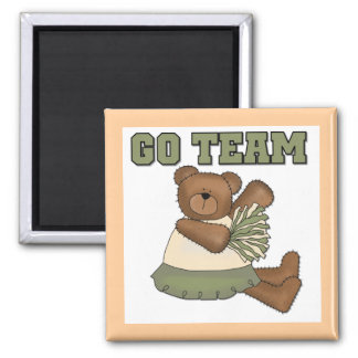 Teddy Bear Cheerleader Green T-shirts and Gifts Square Magnet