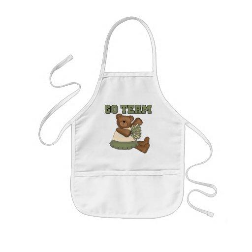 Teddy Bear Cheerleader Green Tshirts Apron