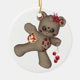 Teddy Bear Christmas Ornament red gold taupe bells